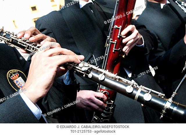 oboe and bassoon musicians in the Holy Week in Seville