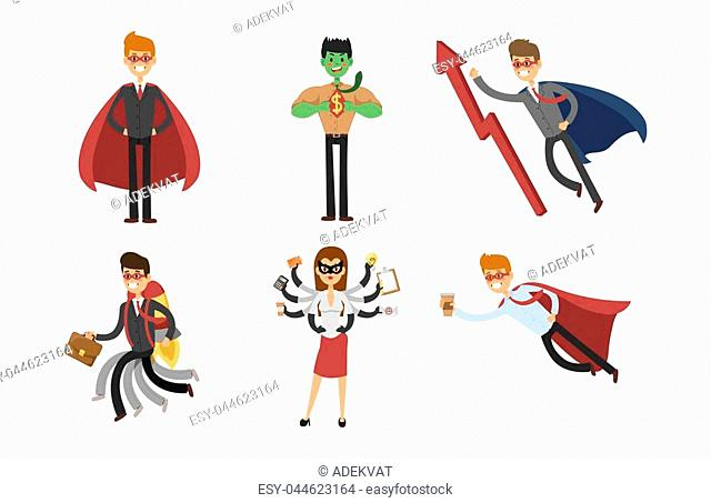 Superhero business man and business woman vector set. Super people in business illustration. Super hero in office life. Superhero flying