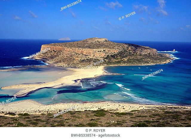 Gramousssa and Tigani beach in north west of Creta island near Chania town, Greece, Crete