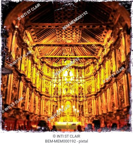 Interior of ornate cathedral, Bogota, Cundinamarca, Colombia