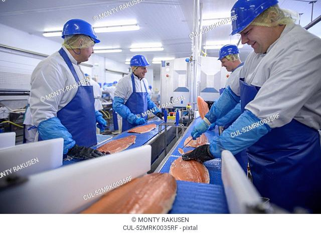Workers cleaning fish in factory