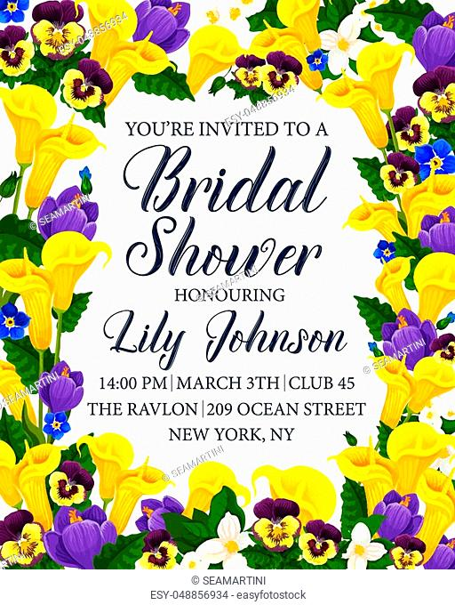 Bridal shower party invitation card with flower frame. Calla lily, spring crocus, pansy and jasmine blooming branch floral border for wedding and engagement...