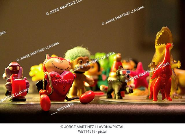 Group of toys on a table