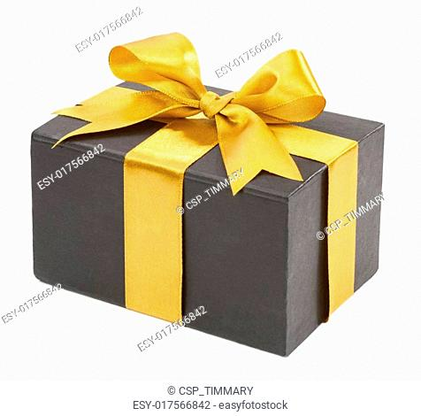 Black box with yellow bow isolated on white background. concept