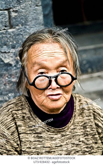 An old lady in Ping Yao, Shanxi, China