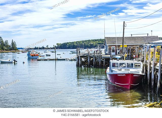Boats and pier in Owls Head Harbor on the Atlantic Ocean Coast of Maine