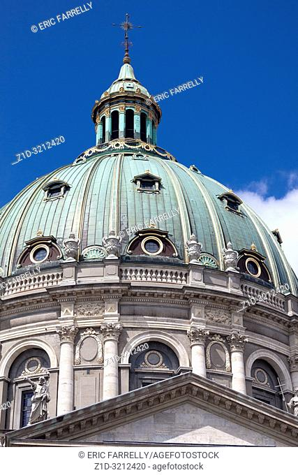 COPENHAGEN, DENMARK . Frederik's Church, popularly known as The Marble Church and castle Amalienborg with statue of Frederick V in Copenhagen