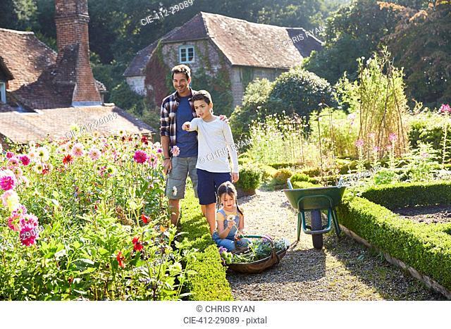 Family picking flowers in sunny garden