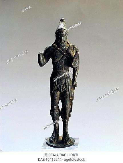 Etruscan civilization, 5th century b.C. Bronze statue depicting Heracle. From Contarina, Porto Viro (Rovigo Province).  Este