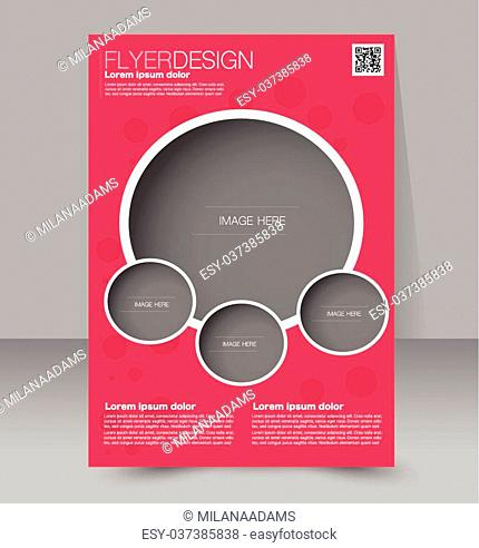 Flyer template. Business brochure. Editable A4 poster for design, education, presentation, website, magazine cover. Red color