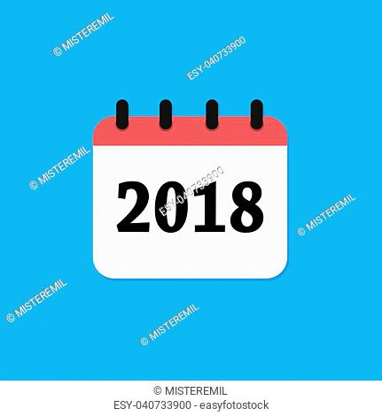 2018 calendar icon isolated on blue colors