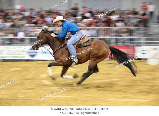 Rome, Italy. 25th April 2014. Barrel Racing at the Cavalli a Roma equestrian event at the Fiera di Roma complex in Rome Italy