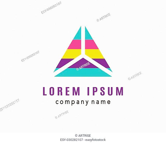 Triangle creative logo design, pyramid icon, business card template