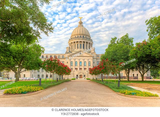 The Mississippi State Capitol and grounds, as viewed from the north, on a pleasant summer morning in Jackson, Mississippi