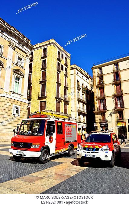 Firefighters vehicles. Plaça Jaume I, Barcelona, Catalonia, Spain