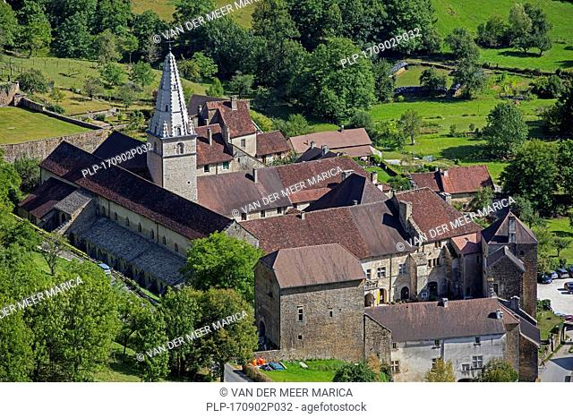 Aerial view over the Baume Abbey / Abbaye Saint-Pierre de Baume-les-Messieurs, Jura department in Franche-Comté, Lons-le-Saunier, France