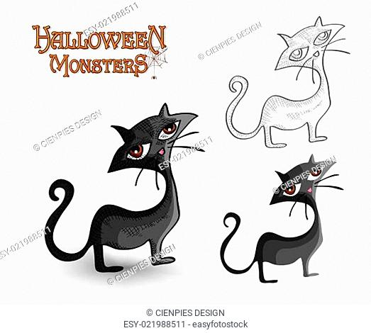 Halloween monsters spooky back cat illustration EPS10 file