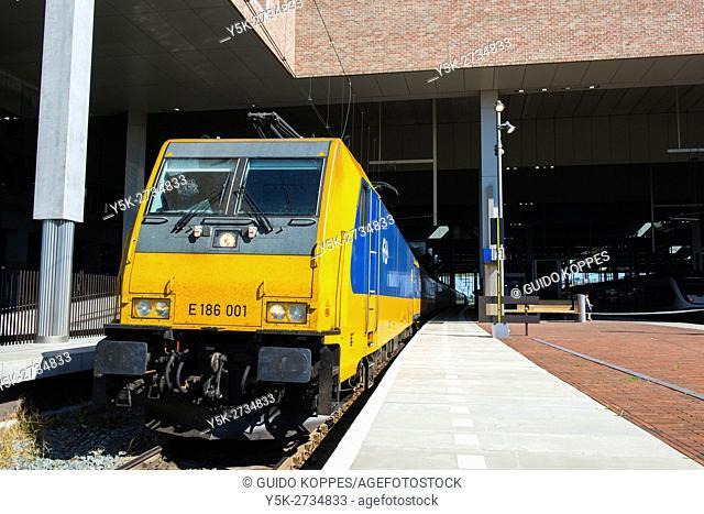 Breda, Netherlands. Intercity Direct train departing form the platform at Breda Railway Station