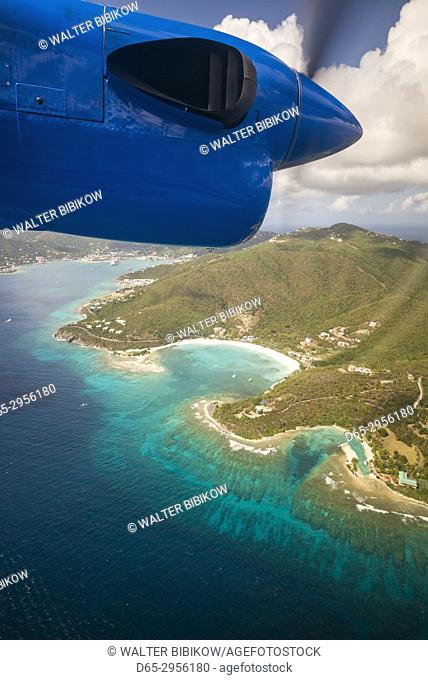 British Virgin Islands, Tortola, aerial view from propeller-driven aircraft