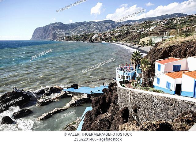 Stone beach of Sao Martinho on Madeira Island, Portugal