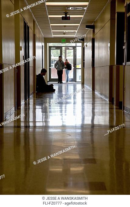 Students entering a building, Spokane, Washington