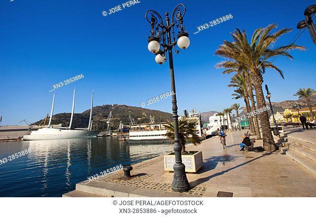 Sailing Yacht A on background, Harbour, Promenade, Cartagena City, Murcia Region, Spain