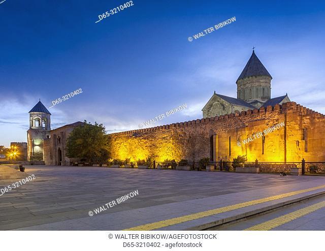 Georgia, Mtskheta, spiritual town where Christianity was established in 327AD, Svetitskhoveli Cathedral, dawn
