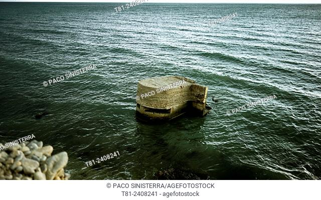 bunker from the Spanish civil war, in the Mediterranean Sea, Spain