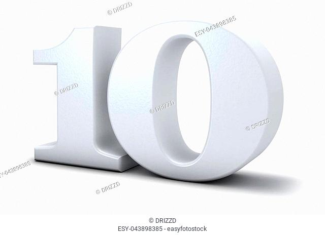 number ten on white background - 3d rendering