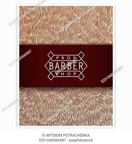Stylized design for Barbershop. Trendy linear emblem and the author's texture. Ready for print, web and other
