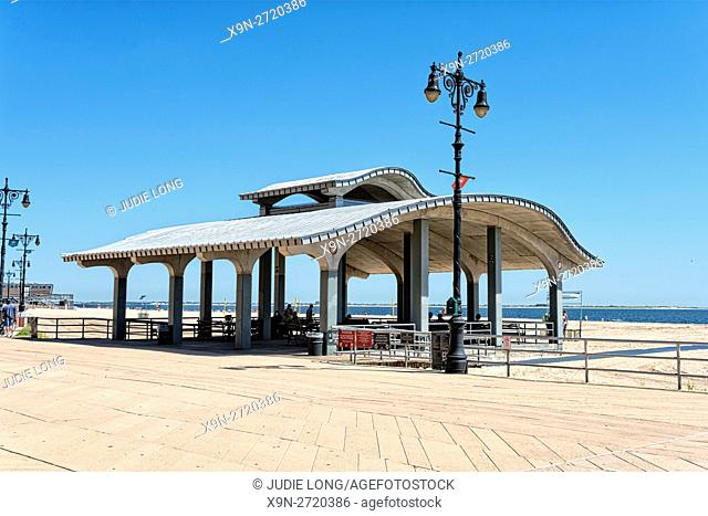 Brooklyn, NY, USA, Brighton Beach Boardwalk on the Beach. Brighton Beach Pavillion on the Beach