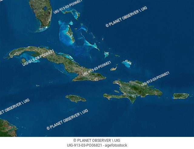 Satellite view of The Greater Antilles and Bahamas. This image was compiled from data acquired by Landsat satellites