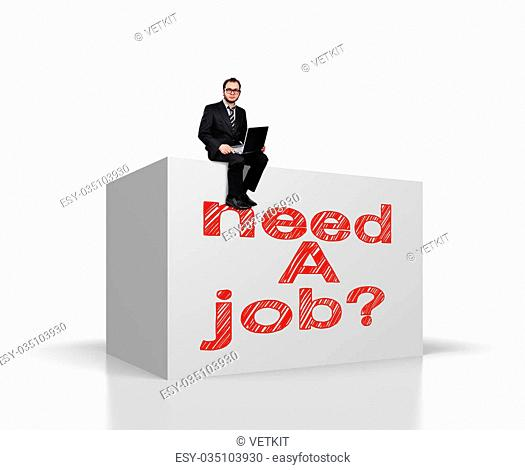 businessman sitting on big cube with drawing need a job
