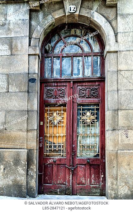 Street Gate in the historic district of Vigo, Galicia, Spain