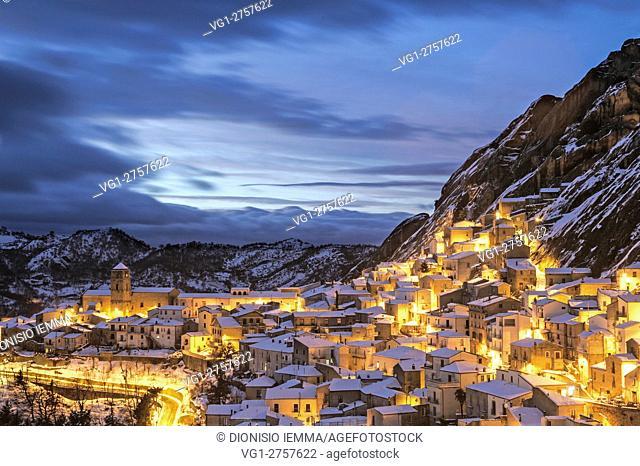 Small Dolomites Lucane, overlooking the village, Pietrapertosa, Potenza district, Basilicata, Italy, Europe