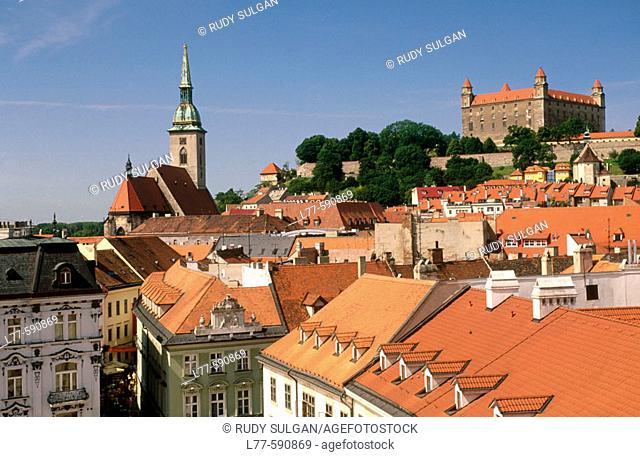 City rooftops and castle. Bratislava. Slovakia