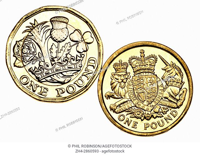 British pound coin - twelve-sided bimetallic 2017 release (dated 2016) and old design