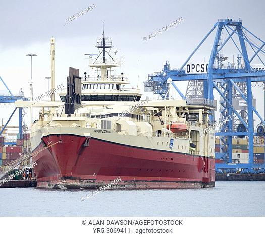Seismic research vessel, Ramform Sterling, in Las Palmas port on Gran Canaria, Canary Islands, Spain