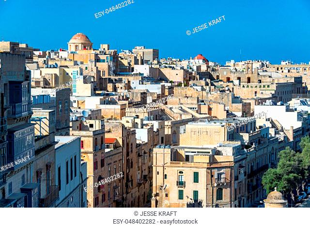 Cityscape view of beautiful and historic Valletta, Malta
