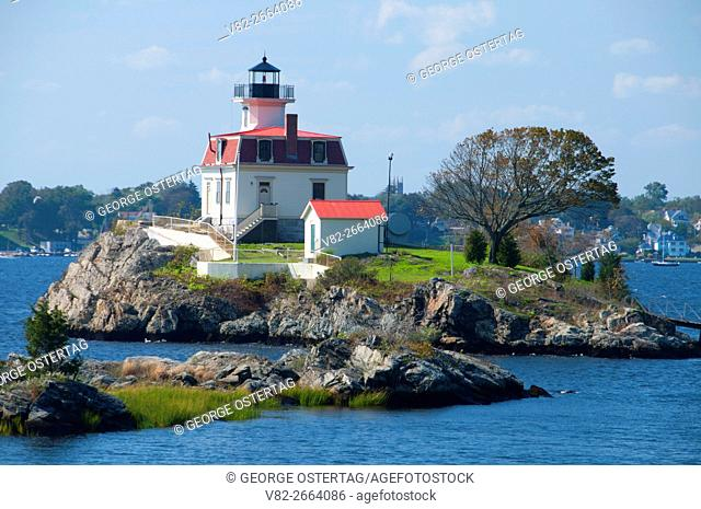 Pomham Rocks Lighthouse, East Bay Bike Path State Park, Rhode Island