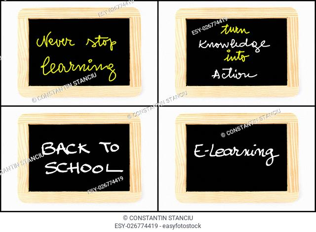 Photo collage of Wooden vintage chalkboard frames isolated on white with messages Never Stop Learning, Turn Knowledge Into Action, Back To School, E-Learning