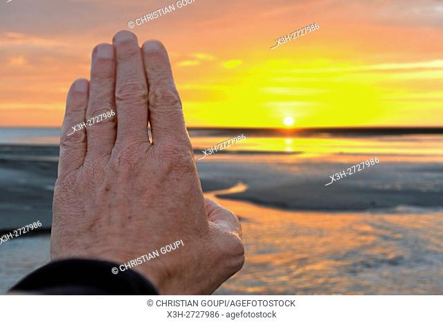 hand hiding th view of low tide at sunset in the Mont-Saint-Michel bay, Manche department, Normandy region, France, Europe