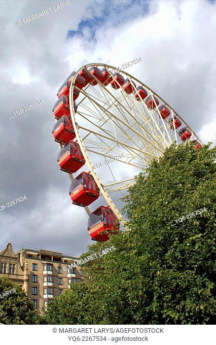 Big wheel in Edinburgh, during summer and Fringe Festival, Scotland, United Kingdom