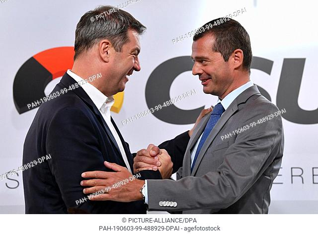 03 June 2019, Thuringia, Weimar: Markus Söder (l, CSU), Prime Minister of Bavaria, and Mike Mohring, head of the CDU parliamentary group in Thuringia