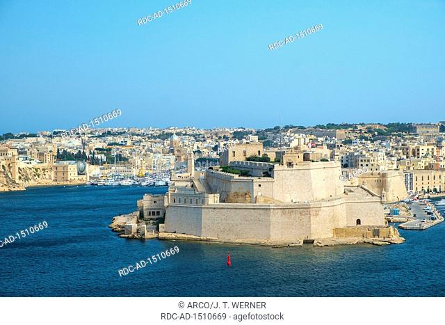 View from Valletta across the Grand Harbor to Fort St. Angelo in Birgu, Malta
