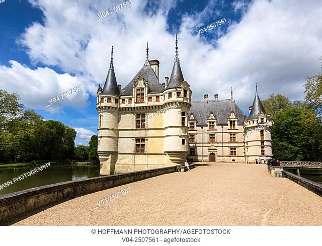 The beautiful Château d'Azay-le-Rideau in the Loire Valley, Indre-et-Loire, France, Europe