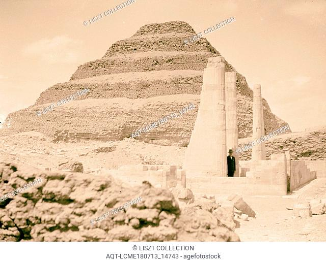 Sakkara. The step pyramid with temple excavations in foreground. 1934, Egypt, Saqqarah