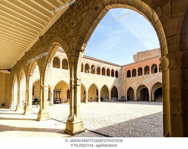 Porticoed interior of the Castle of Móra de Rubielos, Teruel, Aragon, Spain