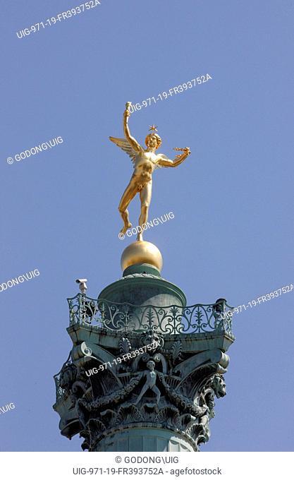 Freedom Genius statue by Auguste Dumont on the July column at the place de la Bastille, Paris, France