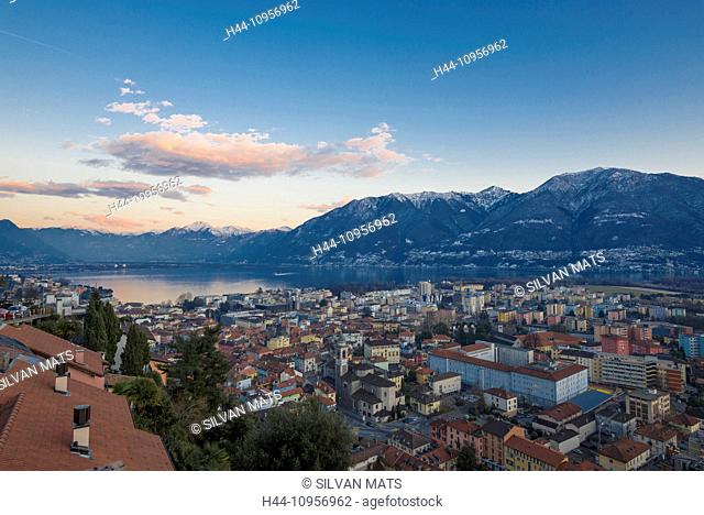 Panoramic view over an alpine village in blue hour over locarno ticino Switzerland, Europe